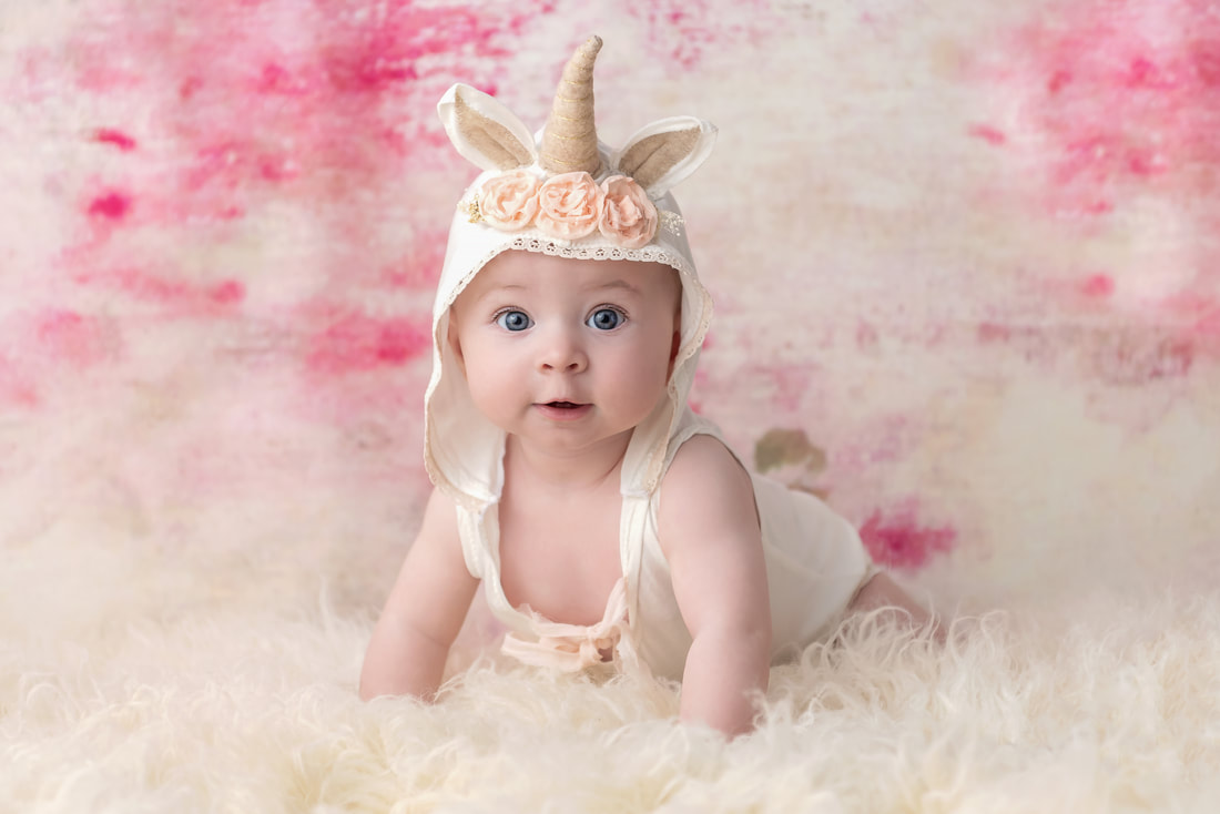 Baby girl unicorn headpiece Jennifer Wagner Photography St. Louis Missouri